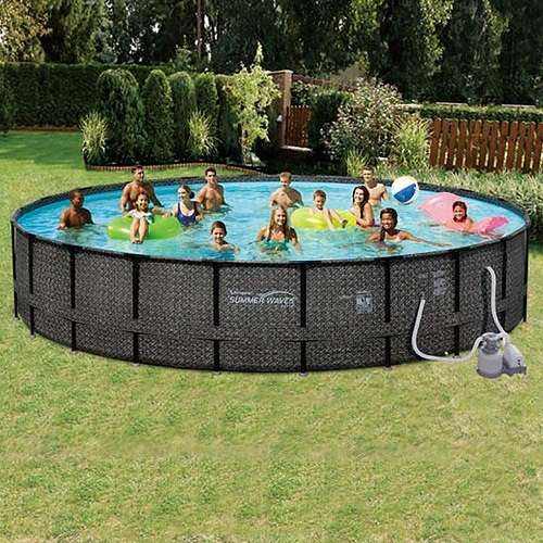 "Summer Waves 24'X52"" Elite Wicker Round Above Ground Frame Pool"