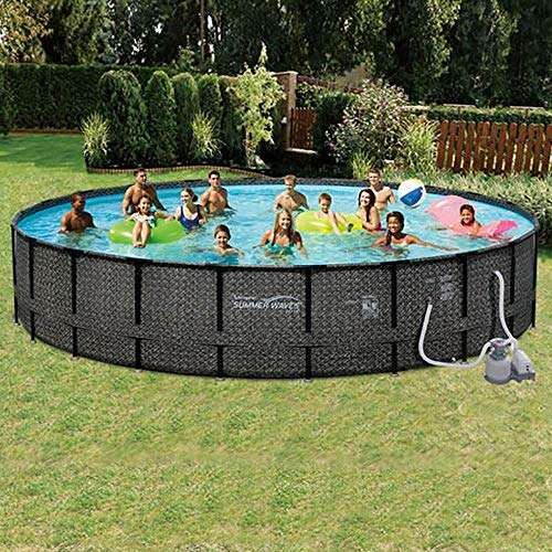Summer Waves 24ft x 52in Elite Wicker Round Above Ground Frame Outdoor Swimming Pool