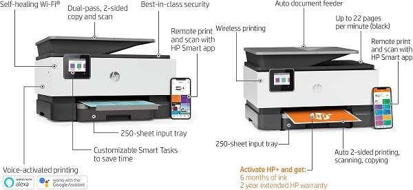 What are the key features of HP Officejet Pro 9015 and 9015E Printer